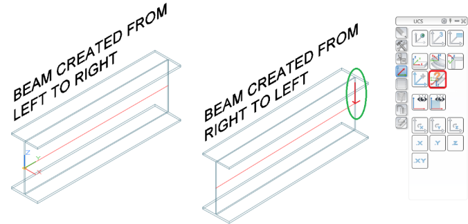 How to find out the start point and direction a beam was created in advance Steel 2018